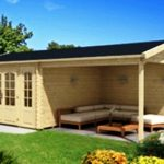Pavillon mit einer Terrasse zum Garten und zum Grundstück